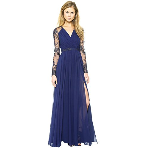 Andy's Share, Damen Lang Maxi Spitze Kleid Robe Abendkleid Party (XL) (Spitze Lange Robe)