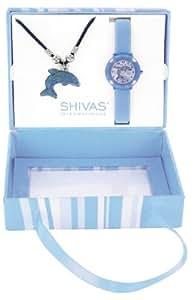 Shivas - A20900-008 - Coffret Cadeau - Montre Fille - Quartz Analogique - Cadran Argent - Bracelet Silicone Bleu + Collier Dauphin