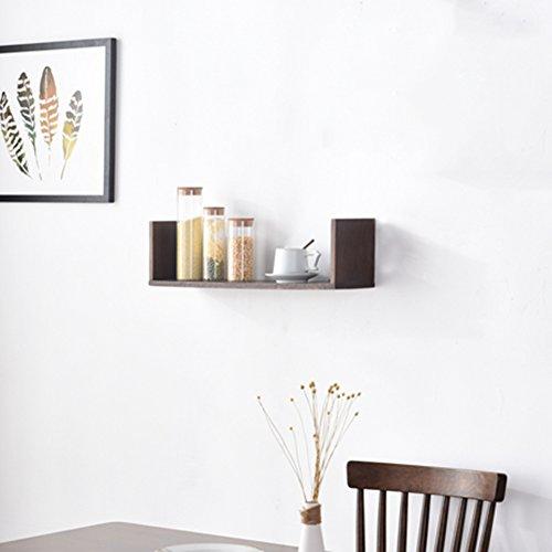 LIANGJUN Bois Massif Cube Étagères Murales Salon Mur De Fond, Longueur 40cm / 60cm, 2 Couleurs Disponibles ( Couleur : Couleur noyer noir , taille : 60X15X16.5cm )