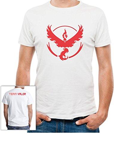 Go Team Rot Team Red Valor - Vorne und Hinten Bedruckt T-Shirt Weiß
