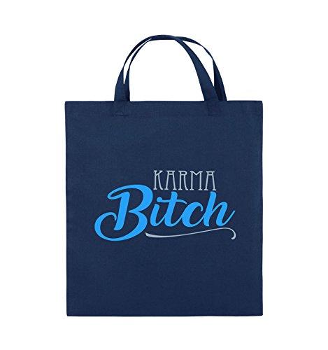 Borse Comedy - Karma Bitch - Borsa Di Juta - Manico Corto - 38x42cm - Colore: Nero / Bianco-neon Verde Blu / Blu Ghiaccio-azzurro