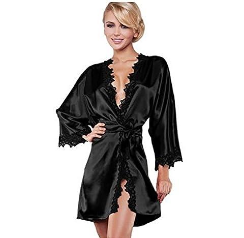 SMSM Style Occidental Sexy Women Summer Bathrobe Lace Edge Perspective Pyjama Amusant Pour Adultes Sexy Underwear Ensembles Multi-Pièces,L,Noir