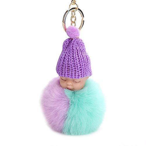 Zerone 2 Verbindungsfarben Niedlichen Plüsch Schlafendes Baby Puppe Anhänger Schlüsselanhänger Schlüsselanhänger Schmuck Zubehör (Lila Grün)