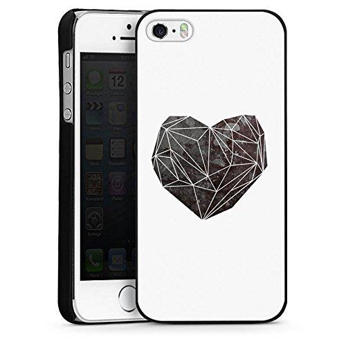 Apple iPhone 5s Housse Étui Protection Coque Amour Amour C½ur CasDur noir