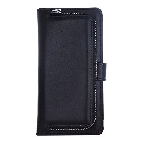Buona Casa- Per iPhone 7 Plus Plain Weave Texture Zipper Cinturino orizzontale in cuoio con custodia protettiva e posteriore staccabile e slot per carte e portafogli ( Color : Pink ) Black