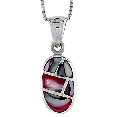 Revoni Sterling Silver Oval Shell Pendant, w/ Colorful Mother of Pearl inlay, 15/16