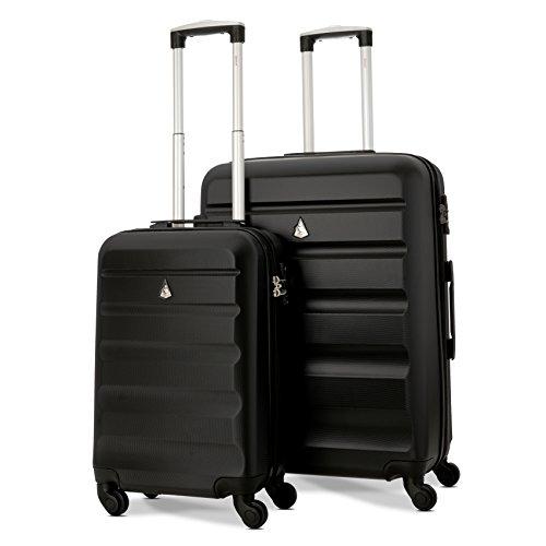 Aerolite Carro de viaje liviano en 4 ruedas en ABS con estuche rígido y cierre TSA integrado (juego de 2 piezas, 21″+ 25″, negro)