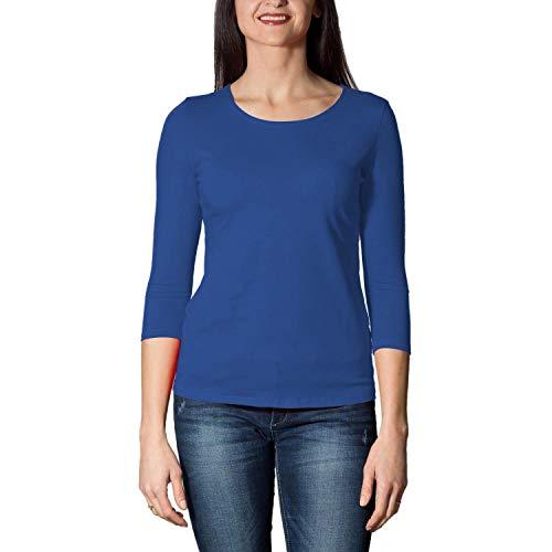 Alkato Damen Shirt 3/4 Arm mit Rundhals, Farbe: Kornblumenblau, Größe: M