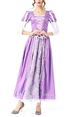 Damen Elegant Lila Prinzessin Kleid Karnevalkleid Partykleid Rapunzel Kleid Kostüm Größe (Kostüm Mädchen Zwangsjacke)