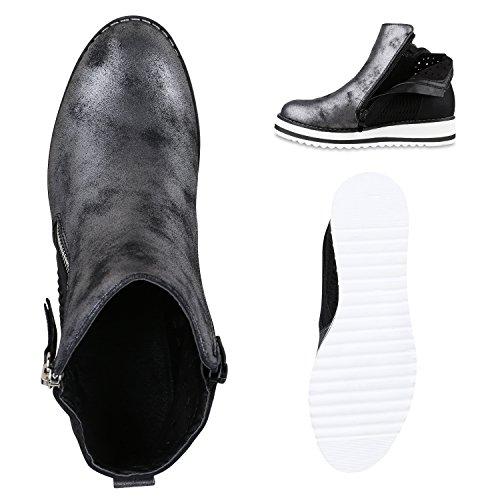 Damen Chelsea Boots Lack Glitzer Profilsohle Stiefeletten Schuhe Schwarz Strick