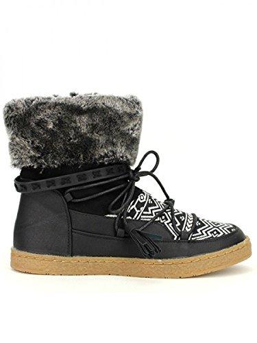 Cendriyon, Boots Fourrées PAKOA Mode Chaussures Femme Noir