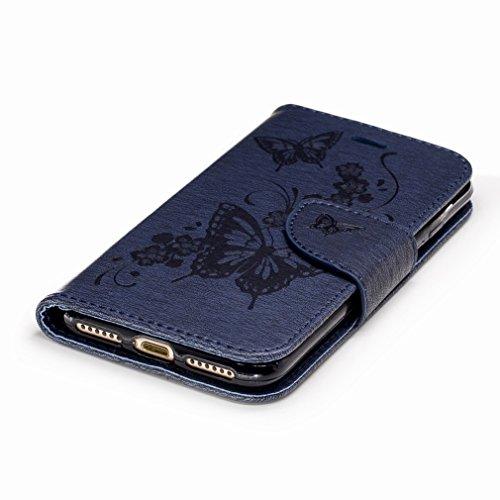 Yiizy Apple IPhone 7 Custodia Cover, Fiore Di Farfalla Design Sottile Flip Portafoglio PU Pelle Cuoio Copertura Shell Case Slot Schede Cavalletto Stile Libro Bumper Protettivo Borsa (Red Rose) Blu Profondo
