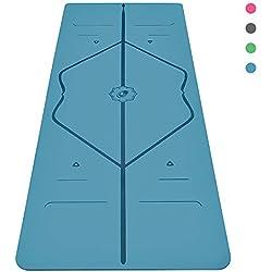 Liforme Esterilla Yoga Antideslizante - Mejor Colchoneta De Yoga del Mundo con Sistema De Alineación Original y Patentado - Yoga Mat Ecológica con Agarre y Adherencia Azul