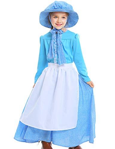 Kostüm Mädchen Kleinkind Bauer - A&J DESIGN Mädchen Pionier Kostüme Bauer Kleid (Blau, S/120-130 CM)