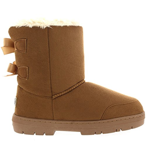 Damen Schuhe Twin Schleife Fell Schnee Regen Stiefel Winter Pelzstiefel - Licht Tan - LTA37 AEA0311 -