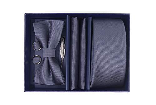 Ensemble cravate complet et assorti 5 pièces (Gris Foncé)...