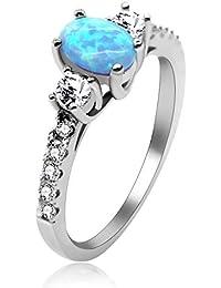 Akzent Damenring Edelstahl Ring Silberfarbig Steinchen Blau Freundschaftsring