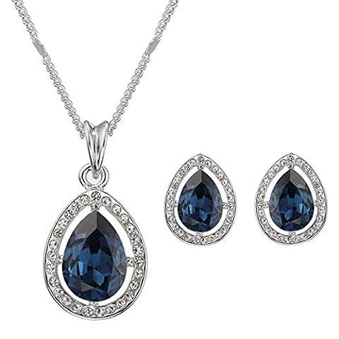 Swarovski Elements Bleu Boucles d'oreilles et collier Parure