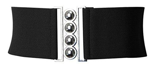 ladies-elasticated-waist-buckle-belt-silver-clasp-waist-belt-50s-corset-style-medium-black