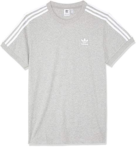 adidas Damen 3-Stripes T-Shirt, Medium Grey Heather, 36