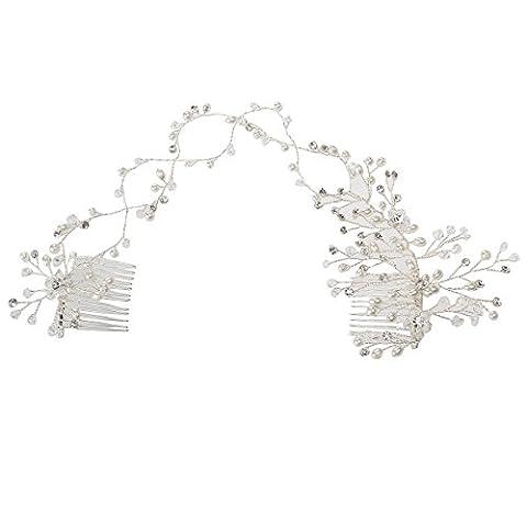 OULII Bandeau Serre-tête Perle Fleur Strass Cristal Peigne de Cheveux Mariage Accessoires de Cheveux Argent