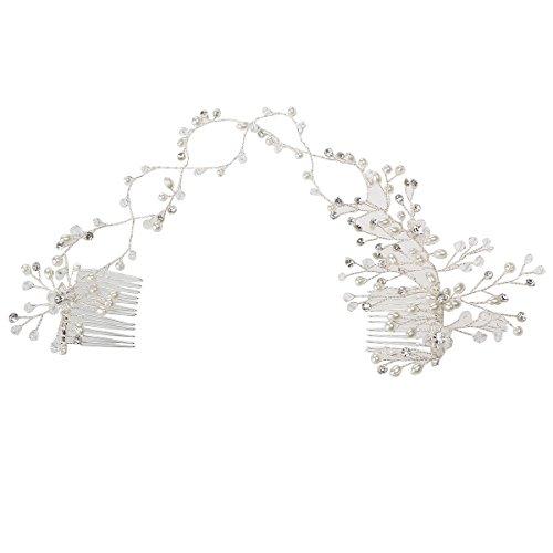 OULII Diadema Horquillas con Flor Perla Diamantes de Imitación Crista