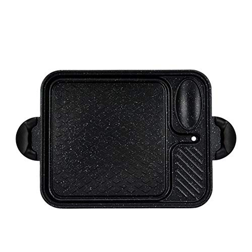 Bistecchiera in ghisa piastra antiaderente, griglia, padella con vassoio portatile, piano cottura a induzione elettrica, piano cottura a gas,black