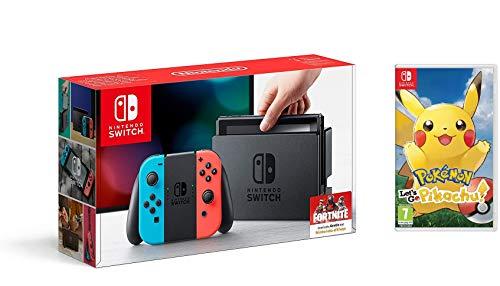 Nintendo Switch - Consola color Azul Neón/Rojo Neón + Pokémon Let's Go Pikachu