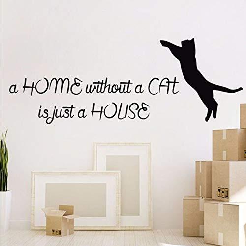 Preisvergleich Produktbild Your boy-HT Katze Wandtattoo Zitat Vinyl Aufkleber abnehmbare Katzen Pet Shop Decor Wandaufkleber Katze Tier Home Decor Design Wand Kunst Wandbild 113X42Cm