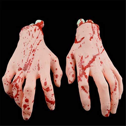 Bluelover Halloween Dekorationen Latex Gefälschte Füße 1Pair Blood Horror Scary Gebrochene Füße Hand - 3