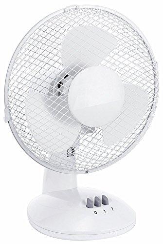 Tischventilator Ø 23cm Desk Fan verschiedene Geschwindigkeitsstufen Ventilator mit 180° Rotation, leiser Betrieb Desk Fan Windmaschine (23cm / Weiss)
