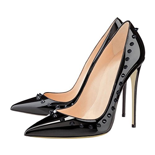 uBeauty Damen High Heels Pumps mit Nieten Übergröße Klassische Damenschuhe Schwarz