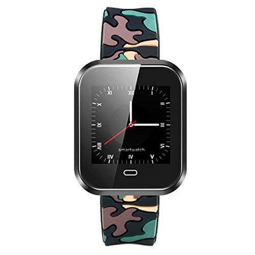 YWY Smart Watch Herz Blutsauerstoffmonitor Schrittzähler mit Mehreren Sportmodi Aktivität Tracker Kalorienzähler Smart Armband Wasserdichte Sportuhr (Farbe : Camouflage Black)