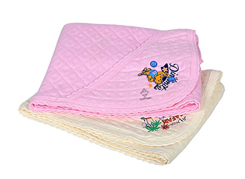 Sathiyas 100% Soft Cotton Baby Hooded Towels - Pack of 2 (Pink || Beige)