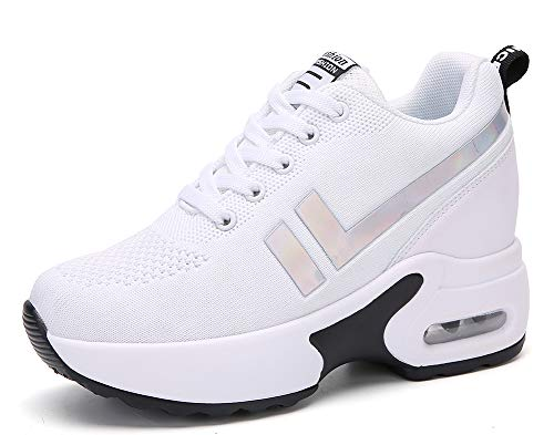 AONEGOLD Sneakers Zeppa Donna Scarpe da Ginnastica Basse Tennis Sportive Fitness Scarpe con Zeppa Interna Tacco 8.5 cm Casual Moda 1298 Bianco 36 EU