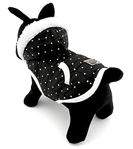 ranphy klein für Hunde/Katzen, Fleece Gefütterte Winter Weste Coat Jacke Kapuzen Jacke Hooded Kostüm Kleidung schwarz