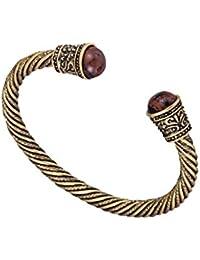 Bracelet viking en laiton ancien serti de perles de bois