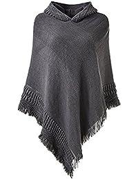 SUNNYME Damen Poncho Cape Schal Shawl Pullover Strickjacken Hooded Gestrickt Wrap Tops