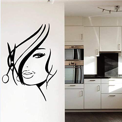 nkfrjz Friseursalon Mädchen Vinyl Tapete Home Art Dekoration Wandaufkleber Mädchen WithBeauty Haar Wandtattoo 42x65 cm