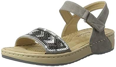 Rieker Damen V5778 Offene Sandalen mit Keilabsatz  Grau (Staub / 42)