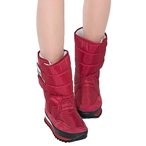 Bunte Raum Fortuning's Klettverschluss Kurze Schnee Jds Frauen Sakura Mädchen Pelz Wasserdichte Winter Rot Stiefel FnR0xnY7