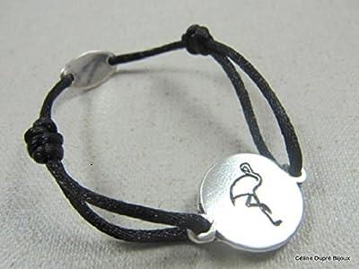 """Bracelet cordon satin """"Flamant rose"""" 16mm finition argent 925"""