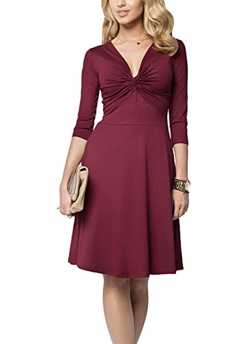 Sexy col v profond ruché Swing Party Dress des femmes Winered