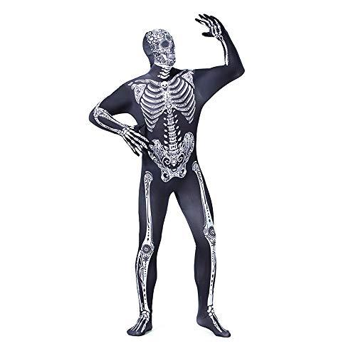 Halloween Kostüm Damenkostüm Cosplay Skeleton Print Jumpsuit,Schwarz,XXL (Skelett Unitard Kostüm)