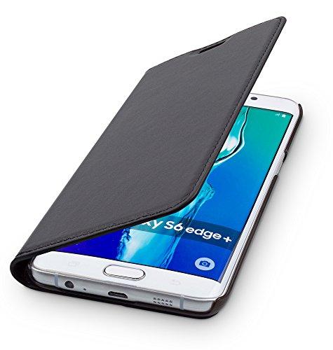 WIIUKA Echt Ledertasche - TRAVEL - kompatibel für Samsung Galaxy S6 Edge Plus Hülle mit Kartenfach, Schwarz, extra Dünn Premium Design Leder Tasche Case