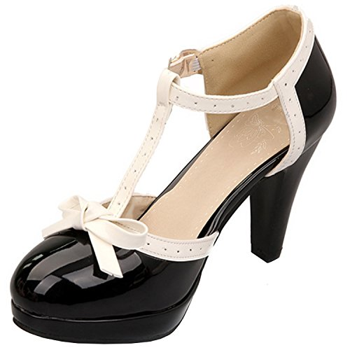 Azbro Women's Round Toe High Heels T-strap Bow Pumps Black