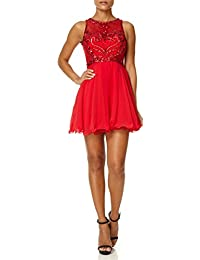 Forever Unique - CHARITY - Red Prom Dress with Fish Net and Beaded Detail