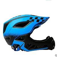 ZLX Helmet Full Face Helmet Half Helmet Dual-use Children Balance Car Slide Car Helmet Breathable Riding Helmet Detachable Full Face Helmet An adventure trip (Color : Blue, Size : M)