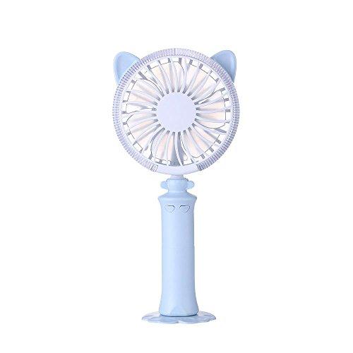 Teepao Handventilator mit LED Nachtlicht, Tragbarer USB Ventilator Mini Lüfter Elektrischer Schreibtisch Desktop Mini Fan mit Basis Verstellbaren Winkel für Office Home Büro Outdoor Reisen