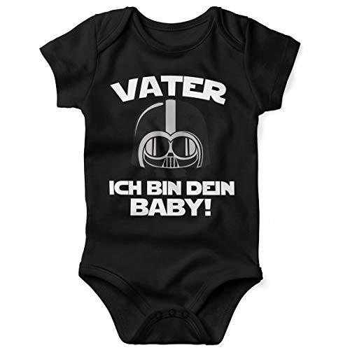 Mikalino Babybody mit Spruch für Jungen Mädchen Unisex Kurzarm Vater - ich Bin Dein Baby! | handbedruckt in Deutschland | Handmade with Love, Farbe:schwarz, Grösse:86/92